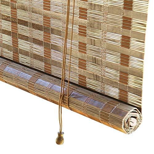 JLXJ Persianas Enrollables y Estores Cocina Oficina Ventanas Cortinas Enrollables de Bambú con Gancho, para Exterior Balcón Pérgola, 55cm/75cm/95cm/115cm/135cm de Ancho, Clásico 85% Apagón Pantalla