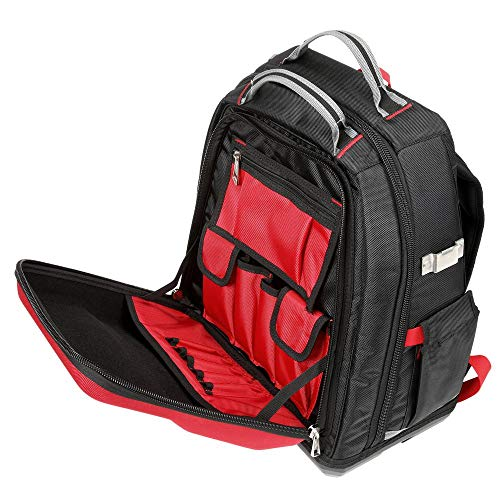 Tool Backpack,Red/Black,48 Total Pockets