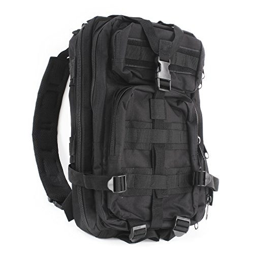 MediTac Tactical Assault Pack - First Aid Rucksack - 18' Military MOLLE Backpack (Tactical Black)