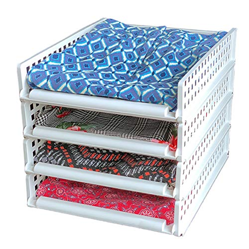 Sliding Stackable Shelves - Create Instant Shelving - Breathable for Clothing - Customizable for Your Closet and Bedroom Organization & Storage by Uncluttered Designs (4 Set)