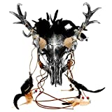 ILOVEMASKS Black Silver Horror Scary Antler Deer Horns Wendigo Headdress Masquerade Costume Party Halloween Mask, Pagan Animal Skull Mask Antelope Skeleton Horn Feather Adult Halloween Party Prom Mask