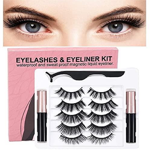 Magnet Wimpern Mit Zange, Magnetische Falsche Wimpern, Mit 5 Styles Soft Eyelashes With Professional Tweezers 2 Arten Von Magnetischen Eyeliner