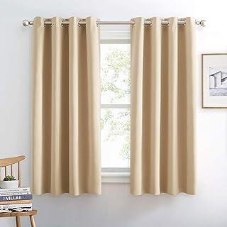 PONY DANCE Window Curtains Beige - Room Darkening Home Decor Window Treatments Grommet Blackout Curtain Panels Drapes Ligh...