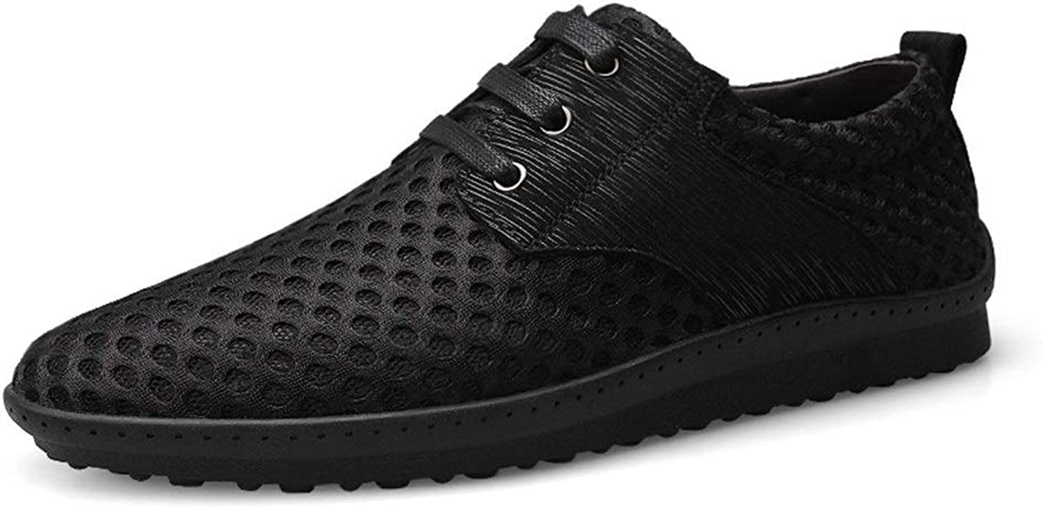 Easy Go Shopping Athletic shoes For Men Sports shoes Lace Up Mesh Material Fresh And Breathable Round Toe shoes Cricket shoes (color   Black, Size   7 UK)
