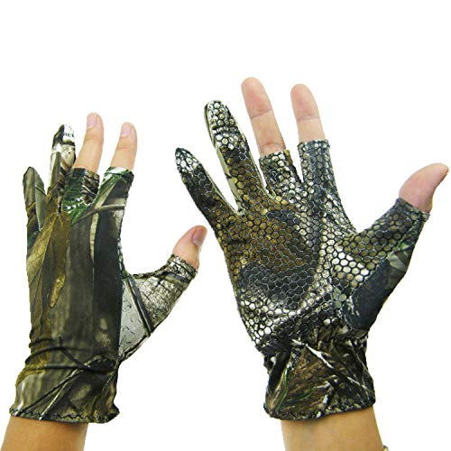 QualyQualy Thin Fingerless 3 Finger L Angeln Gel Handschuh Tarnhandschuhe Jagd Anti Slip elastischen Jagd Angeln Handschuhe