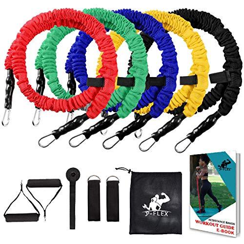 JP Flex-Bänder, 12-teiliges Widerstandsbänder Workout-Set mit schützenden Nylon-Hüllen, Anti-Schnapp, 5 elastische Bänder, 2 Knöchelriemen, 2 Schaumstoffgriffe, Türanker, eBook