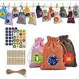Lolly-U Bolsas de 24 colores para caramelos, decoraciones de arpillera, bolsas de lino, accesorios para decoración del hogar para árbol de Navidad/Firespace, vienen con 2 hojas de adhesivo