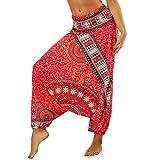 Lvguang Pantalones De Estilo Hippie De Los Mujer De La Vendimia del Estilo Nacional Pantalones Holgados Bombachos Ocasionales del Hippie (Estilo14, One Size)