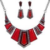YAZILIND vendimiae étnico Collar Rojo Tibetano de Plata Irregular Diamante de imitación Babero Pendientes del Collar de Las señoras de la joyería determinada
