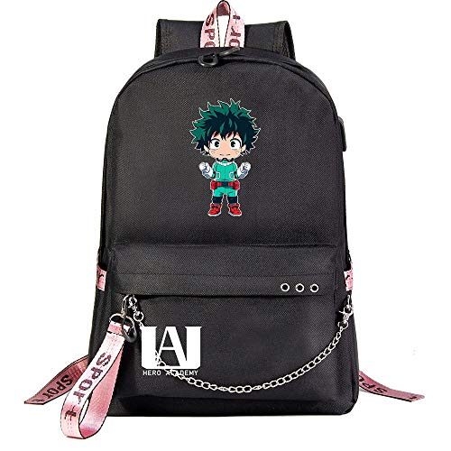 WWAN-YU Casual Rugzak voor dames en heren, met tas voor studenten van Dell'Accademia Anime My Heroanime Cartoon Rugzak voor dames en heren