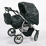 Zwillingskinderwagen mit viel Zubehör in 12 Farben und Räder zur Auswahl (Design 2)