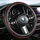 Aierxuan Microfiber Leather Steering Wheel Covers. Universal Fit 15 Inch Car Wheel Protector- Breathable, Anti Slip, Odorless(Black-Red)