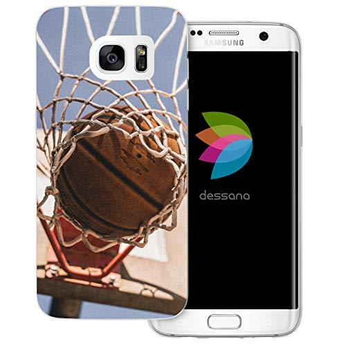 dessana Basketball transparente Schutzhülle Handy Case Cover Tasche für Samsung Galaxy S7 Edge Korbwurf Tor