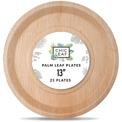 Chic Leaf Palm Leaf Plates Disposable Bamboo Plates 13 Inch Round (25 pk) Biodegradable and Compostable Serving Trays for Weddings, Charcuterie Boards, BBQs, and Catering