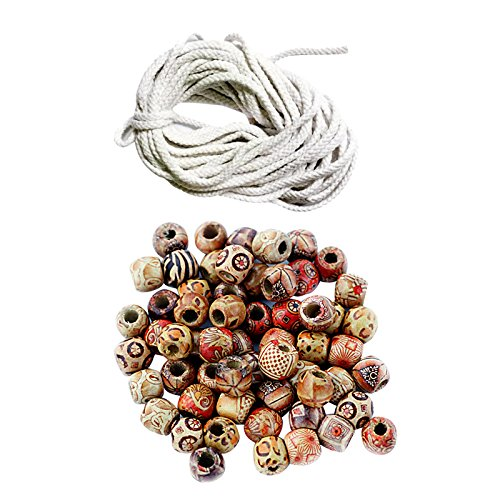 kowaku 100 Cuentas de Madera de 12 Mm + 10 M, Collar, Pulsera de Cuerda, Fabricación de Bricolaje