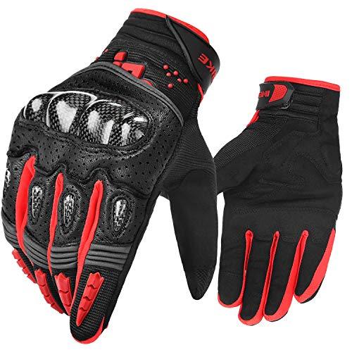 INBIKE Motorrad handschuhe Herren Damen Motorradhandschuhe Atmungsaktivität Strapazierfähig Hartschalen-Schutz für Motorrad Radfahren Camping Outdoor(Schwarz&Rot,M) IM803