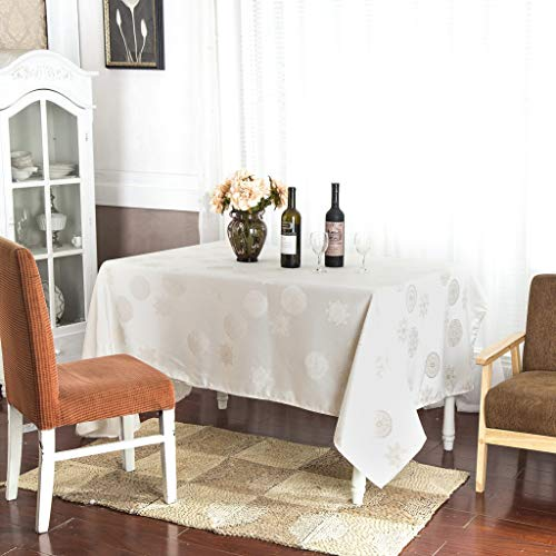 Best Interior Nappe de Table Rectangle décorative 140x240cm Flocon - Ecru - Dimensions : 140x240cm