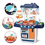 CUTE STONE Little Kitchen Playset, Kids Play Kitchen with Realistic Lights & Sounds,Simulation of...