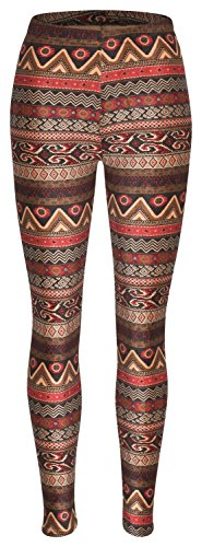 Piarini Winter-Leggings mit Teddy-Innenfleece - Thermo-Leggings extra kuschelig warm in Ethno-Style 1 Gr.L-XL