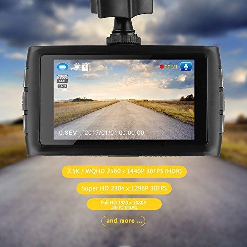 Z-EDGE Z3 - Cámara de salpicadero para coche 1440P Quad HD con chipset Ambarella A12 de 3 pulgadas de pantalla Super HDRNIGHT Visión nocturna de 155 grados de gran angular y tarjeta de memoria de 32 GB incluida