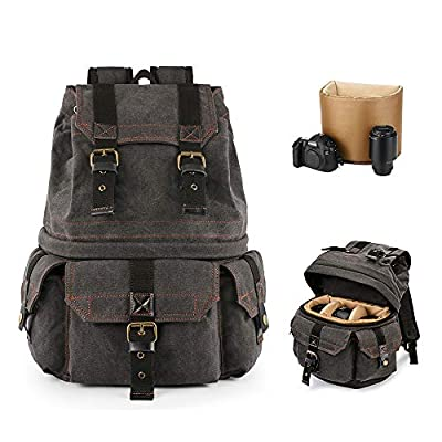 Kattee Canvas Camera Backpack Professional DSLR...