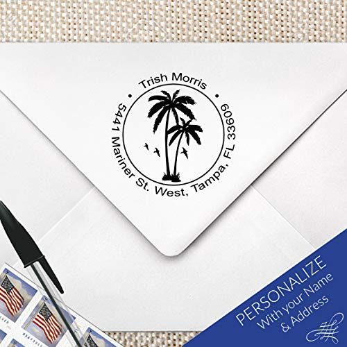 Tropical Palm Tree Return Address Monogram Stamp, Beach Return Address Stamp | MS-R16