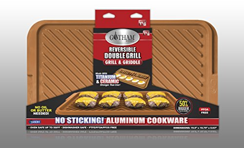 Gotham Steel 1420 Ceramic and Titanium Nonstick Rectangular Double Grill, X-Large, Brown