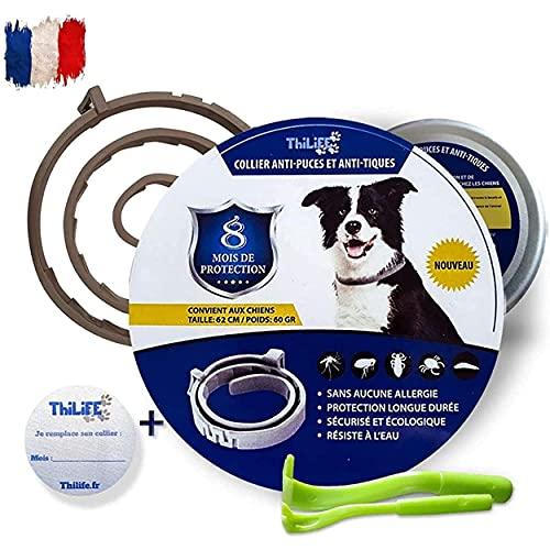 Thilife -Collar antipulgas y antigarrapatas ajustable para perros de más de 8 kg | 8 meses de protección | 2 pinzas para quitar garrapatas de regalo | Formulado con aceite esencial | Impermeable