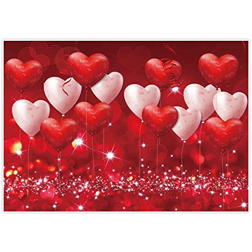 Allenjoy 7x5ft Fabric Valentine's Day Backdrop Red Hearts Balloons Love Theme Party Supplies for...