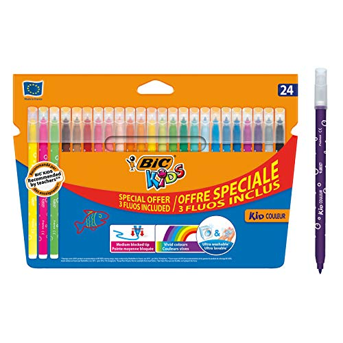 BIC Kids - Kid Couleur Rotuladores Punta Media, Caja de 24, Pack...