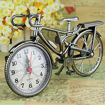 BaoST Vintage Arabic Numeral Retro Alarm Clock Battery Operated Bicycle Shape Creative Alarm Clock Fashion Bike Kids Clock Decorative Table Clocks Ornament Gift for Kids Adults Random