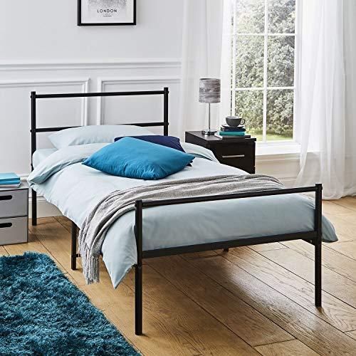 Direct Online Houseware - Struttura per letto singolo in metallo, extra resistente, colore: Nero