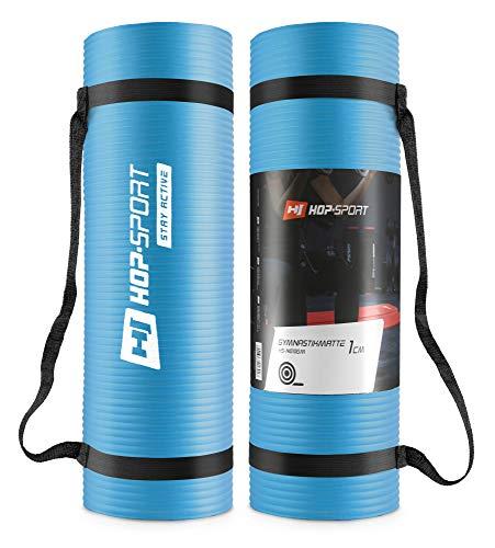 Hop-Sport Gymnastikmatte NBR180x61cm in Zwei Stärken/Fitnessmatte ist rutschfest und verformt Sich Nicht + Tragegurt (1cm blau)