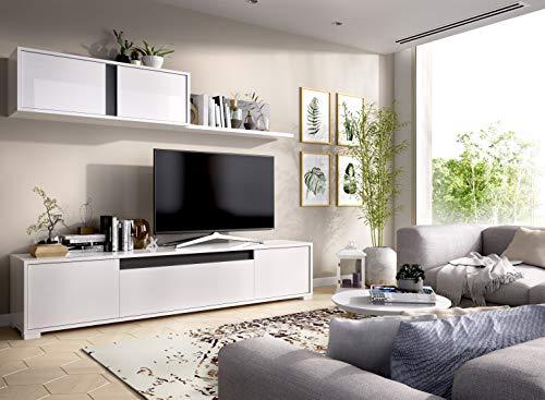 Muebles La Factoría - Mueble salón Comedor Moderno, Acabado en Blanco Brillo...