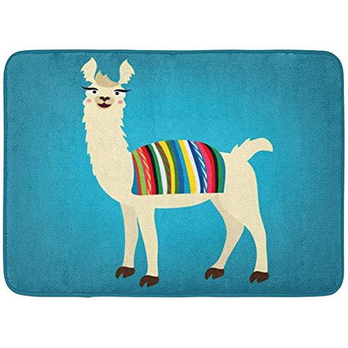 Alfombras de baño Alfombra de Puerta Colorido Lama de Linda Llama Perú Cabo Boliviano en la Espalda Azul Alpaca Animal Decoración de baño Alfombra Alfombra de baño