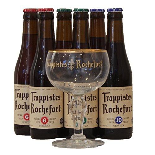 Rochefort Trappistes Probierpaket biergeschenke (6 x 0,33L + Rochefort Glas)