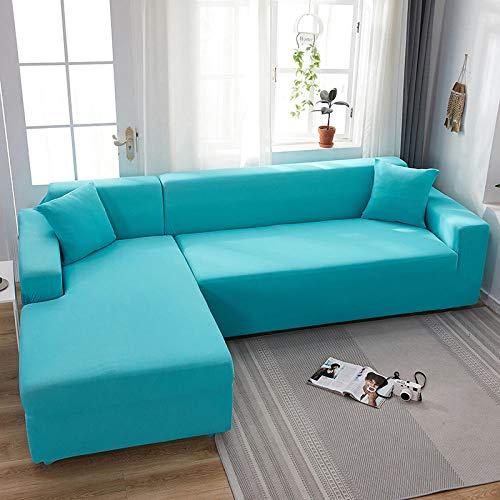 Funda Elástica para Sofá Azul cielo 3 2 plazas, fundas de sofá todo incluido de color sólido, fundas de sofá elásticas, toalla de sofá, fundas de sofá de esquina Chaise General 145-185cm 1 PCS
