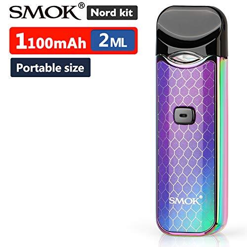 Offiziell SMOK Nord Kit 1100mAh E Zigarette Starterset, TPD 2ml Pod System Tragbar Verdampfer mit eingebautem Akku, 0,6-Ohm-Spule für unter-Ohm, 1,4-Ohm-Wickelkopf für MTL-Dampf Ohne Nikotin 7-Color