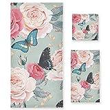 Vnurnrn Mariposa Flor Rosa Juego de Toallas para Baño Playa Toalla (1 Toalla de Baño y 1 Toalla de Mano y 1 Paño de...