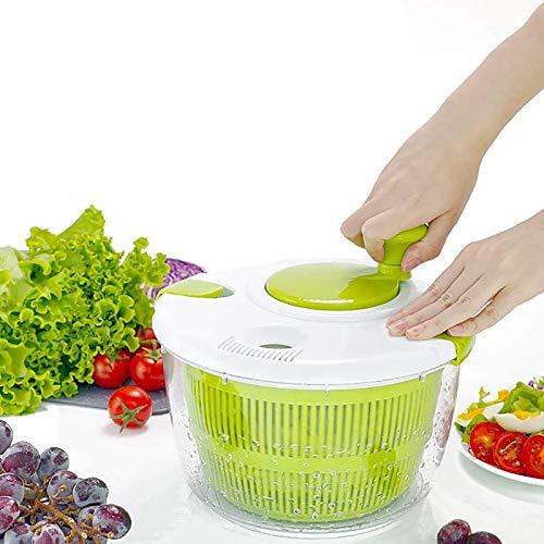 Donpow Salatschleuder, 5L Kunststoff-Gemüseschleudertrockner, Mehrzweck-Salatentwässerungsgerät, manuelle Salatwaschmaschine für Obstküche