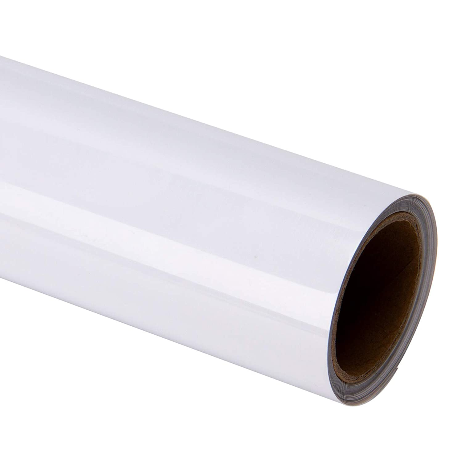 MAYPLUSS Heat Transfer Vinyl Roll - Easy to Weed Iron on HTV for T-Shirts, Craft Garment Heat Press - 15 Inches by 6 Feet Roll - White