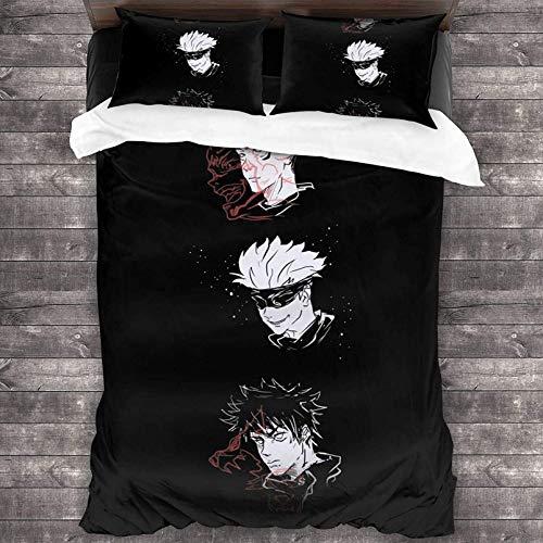 Anime Jujutsu Kaisen, Gojo Satoru - Juego de ropa de cama de microfibra cepillada ultrasuave, ropa de cama acogedora para decoración del hogar (A-2, 140 x 210 cm + 80 x 80 cm x 2)