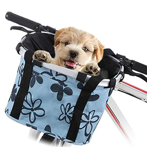DIYHM Bike Basket Foldable Small Pet Cat Dog Carrier Front Removable Bicycle Handlebar Basket Quick-Release Detachable Cycling Bag Bike Basket, Small Pets Cat Dog Folding Carrier (Color : Blue)
