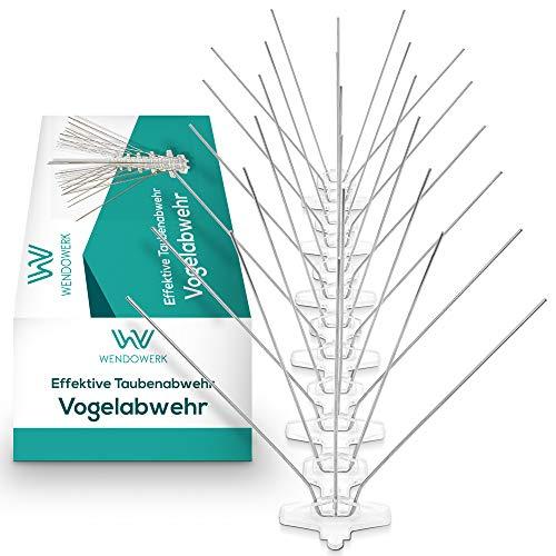Wendowerk [3 Meter] Taubenabwehr - Effektive [5-Reihige] Vogelabwehr aus Edelstahl mit Sollbruchleisten - Taubenabwehr Spikes für Balkon, Fenster und Dach