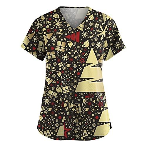Kasacks - Camiseta de manga corta para mujer, diseo de Navidad, con bolsillos, cuello en V, ropa de trabajo, uniforme de enfermera, A01 negro., XXL