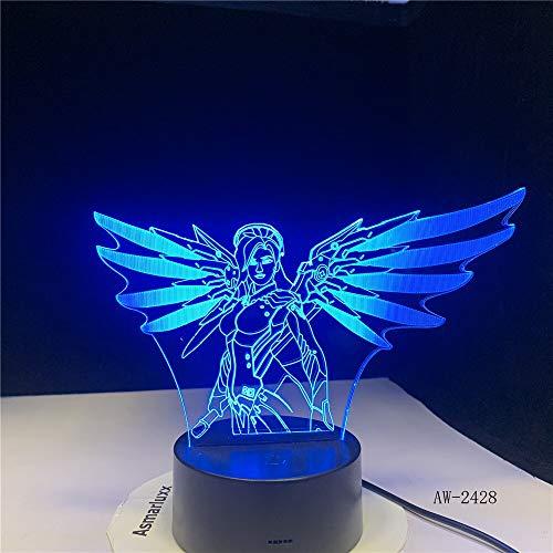 Wonder Woman Night Light 3D LED USB Table Lamp Kids Birthday Gift Bedside Room Decoration