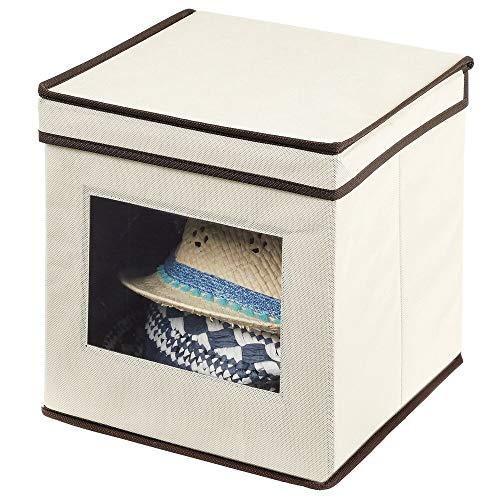 mDesign Caja de almacenamiento – Organizador apilable pequeño y de fibra sintética con tapa y ventana de visualización – Cajas para ropa cuadradas para el dormitorio – crema y marrón