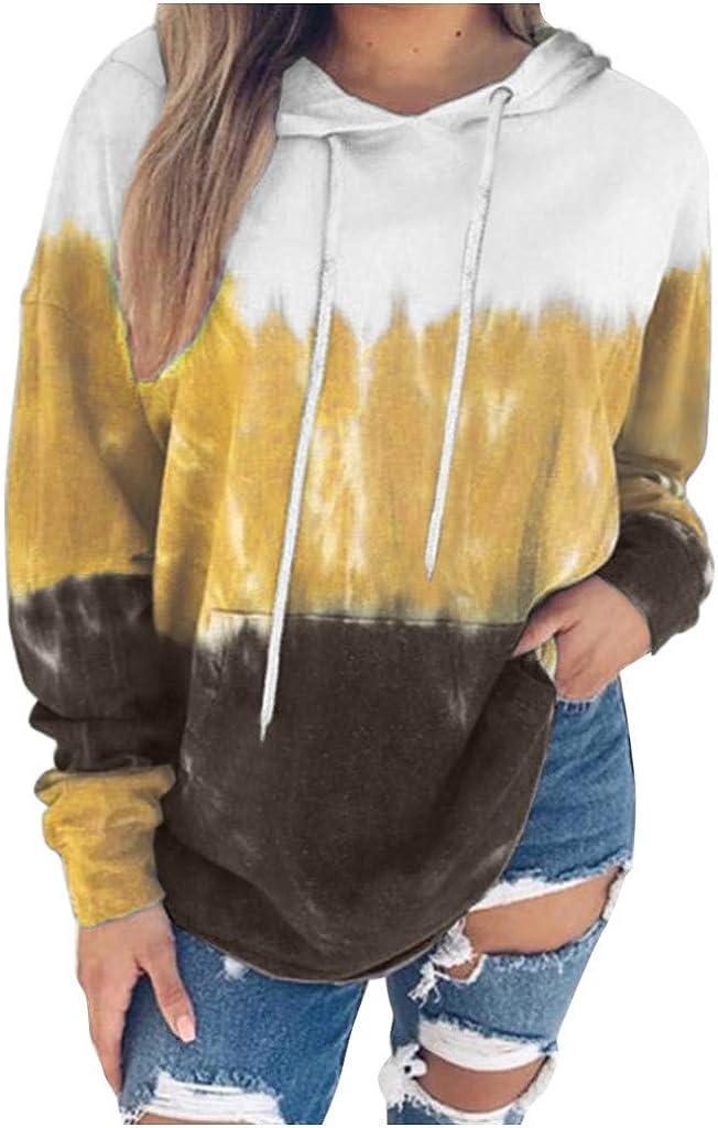 Women's Hoodies Tops Tie Dye Printed Sweatshirt Long Sleeve Pullover Loose Drawstring Hooded with Pocket Shirts