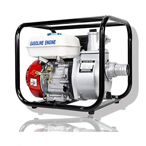 DC HOUSE Water Transfer Pump 2-Inch Centrifugal Water Pump with Gas Powered 6.5hp 160CC Series Commercial Grade 4-Stroke Engine and 158 GPM Capacity - Portable WB20 Flow Rate 23FT Suction 92FT Lift