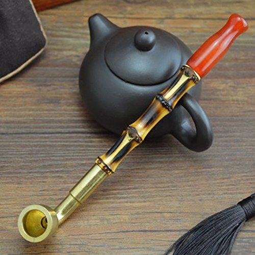 Liuyu · Maison de vie Tabac Pipe Bambou Fumée Pole Tabac Sacs Pot Fumée Onyx Cigarette Titulaire Pipe 15cm ( Couleur : Filter dual-use type )